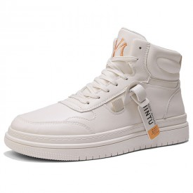 Beige Fashion Sneakers Height Increasing High Top Skate Shoes Add Tall 3inch / 7.5cm