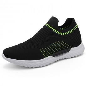 Ultra Lightweight Elevator Sock Walking Shoes Black Hidden Lift Slip On Sneakers Get Taller 2.4inch / 6cm