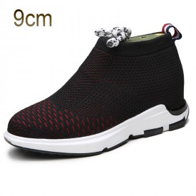 Black-Red Taller Flyknit Shoes for Men 3.5inch / 9cm height increasing Slip on Loafers