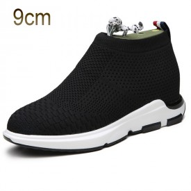 Black Taller Flyknit Shoes for Men 3.5inch / 9cm Elevated Slip on Loafers
