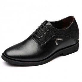 Black Hidden Lift Business Shoes British Elevator Formal Oxfords Increase Height 3 inch / 7.5 cm