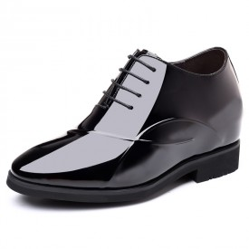 Shiny 4Inch Height Increasing Wedding Shoes Black Patent Leather Pointy Toe Elevator Tuxedo Shoes Taller 10cm
