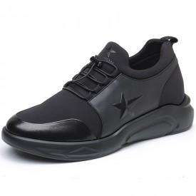 Comfortable Men Taller Sneakers Black Slip on Elevator Casual Sports Shoes Height 3.2inch / 8cm
