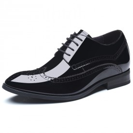 Glossy Cowhide Wing Tip Taller Tuxedo Shoes 2.8inch / 7cm Height Black Brogue Formal Shoes