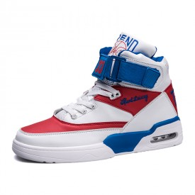 Blue-Red Trendy High Top Sneakers Increase Height Buckle Elevator Skate Shoes Add Taller 3.6inch / 9cm