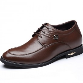 Exalted taller dressy shoes height increasing 7cm / 2.75inch brown men wedding shoe