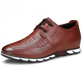 Youth Elevator Walking Shoes Taller 2.4inch / 6cm Stitched Brown Calfskin Casual Shoes