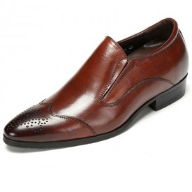 British elevated perforated toe dressy shoes 7cm / 2.75inch brown brogue slip on wedding shoes