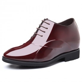 Shiny 4Inch Hidden Taller Wedding Shoes Wine Red Patent Leather Pointy Toe Height Tuxedo Shoes Increase 10cm