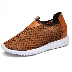 Breathable mesh elevated loafers add height 8cm / 3.2inch camel silp on sneakers