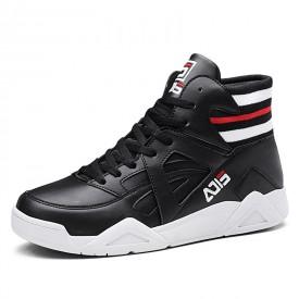 Black Hidden Lift Skate Shoes Elastic Belt High Top Casual Sneakers Taller 3.2inch / 8cm