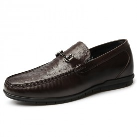 2019 Comfort Elevator Driving Loafers Brown Ostrich Hidden Lift Boat Shoes Height 2.2inch / 5.5cm