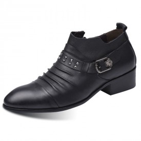 Stylists Elevator Shoes Buckle Strap Slip On Dress Shoes Side Zip Pointy Formal Loafers Add Taller 3inch / 7.5cm