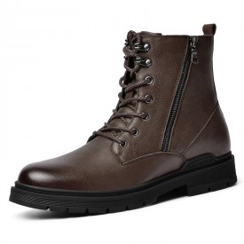 Tall Men Double Zip Boots Brown Calf Leather Tactical Chukka Boot Warm Military Boots Add 2.6inch / 6.5cm