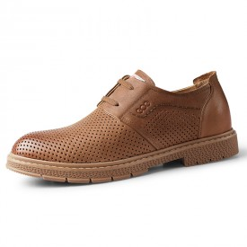 Brown Hidden Height Perforated Dress Shoes British Hollow Out Lightweight Formal Oxfords Add Tall 2.4inch / 6cm