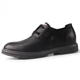 Black Hidden Taller Perforated Dress Shoes British Hollow Out Lightweight Formal Oxfords Increase 2.4inch / 6cm