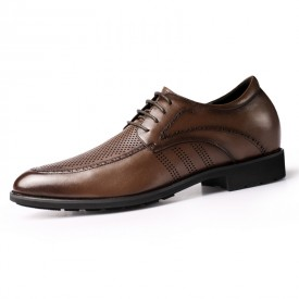 Height Elevator Perforated Business Formal Shoes Korean Brown Hollow Out Dress Shoes Add Height 2.4inch / 6cm