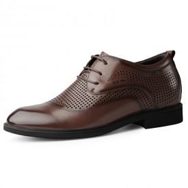 Hollow Out Taller Formal Shoes Brown Hidden Insoles Summer Tuxedo Derbies Add Height 2.4inch / 6cm