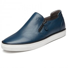 Stylish slip on height board shoes zip loafers 2.2inch / 5.5cm Blue