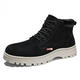 Black Elevator Martin Boots British Trendy Ankle Boot Increase Taller 2.8inch / 7cm