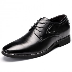 Elegant elevator shoes increasing 2.4inch / 6cm black men business shoes