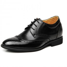 British carved elevator shoe for men get taller 7cm / 2.75inches Brogue height increasing shoes