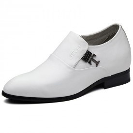 Elevator wedding loafers casual business shoes 2.4inch / 6cm White