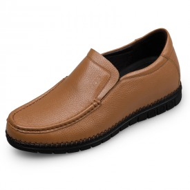 Soft Calf Leather Elevator Casual Loafers Brown Stitching Flat Shoes Get Taller 2.4inch / 6cm