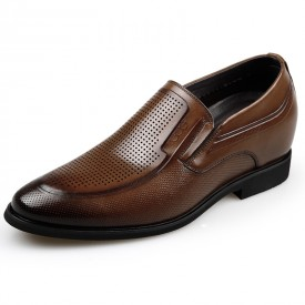 European Elevator Formal Sandals Brown Slip On Perforated Dress Shoes Height 2.6inch / 6.5cm