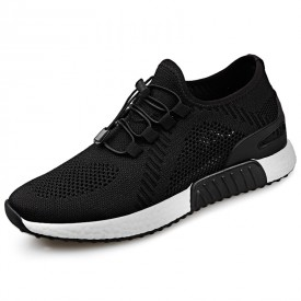 Comfortable Hidden Lift Running Shoes Black Breathable Elevator Slip On Sneakers Taller 2.4inch / 6cm