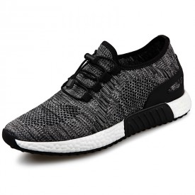 Comfortable Hidden Lift Running Shoes Grey Breathable Heigt Slip On Sneakers Increase 2.4inch / 6cm