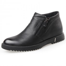 Double Zip Elevator Ankle Boots Altitude 2.4inch / 6cm Wool Lining Slip On Taller Boots