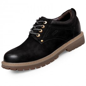 Fashion Spacious Toe Elevator Work Shoes 2.8inch / 7cm Black Nubuck Leather Taller Casual Shoes