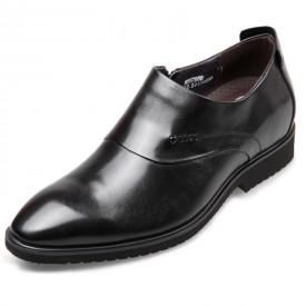 Lightweight Elevator Dress Loafers Taller 2.8inch / 7cm Black Side Zip Busines Shoes