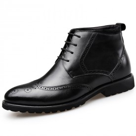 Classic Brogue Elevator Dress Boot Black Formal Wing Tip Boots Height 2.6inch / 6.5cm