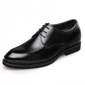 Lightweight Elevator Wedding Shoes Black Glossy Leather Oxford Height 2.6inch / 6.5cm