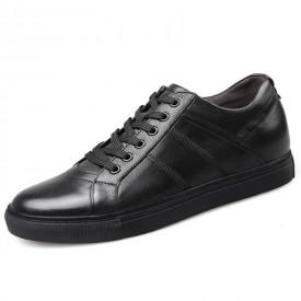 Premium Calfskin Elevator Skateboarding Shoes Black Business Casual Shoes Taller 2.6inch / 6.5cm
