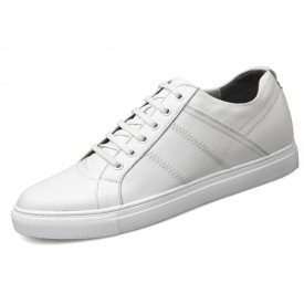 Premium Calfskin Elevator Skateboarding Shoes White Business Casual Shoes Inrease 2.6inch / 6.5cm