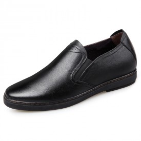 Premium Soft Genuine Leather Elevator Shoes Slip On Business Dress Shoes Taller 2.4inch / 6cm