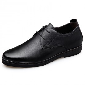 Premium Soft Genuine Leather Taller Shoes Lace Up Formal Oxfords Increase Height 2.4inch / 6cm