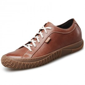Retro Elevator Hard Toe Casual Shoes Brown Soft Cowhide Grain Leather Shoes Height 2.4inch / 6cm