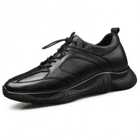 Black Cowhide Elevator Sneakers Classic Casual Sports Shoes Taller 2.6inch / 6.5cm