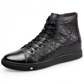 High Top Hidden Heel Sneaker Shoes Height 2.2inch / 5.5cm Calfskin Elevator Walking Shoes