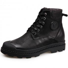 Taller Military Combat Boots 2.4inch / 6cm Side Zip Height Increasing Cap Toe Work Boot
