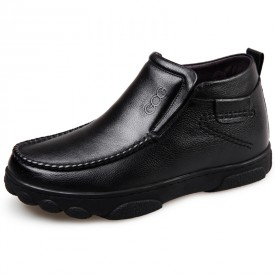 Warm Slip On Elevator Ankle Boots 2.4inch / 6cm Calfskin Height Increasing Boots