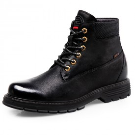 Black Hidden Lift Combat Boots Spacious Toe Cowhide Elevator Tactical Boots Increase 2.8inch / 7cm