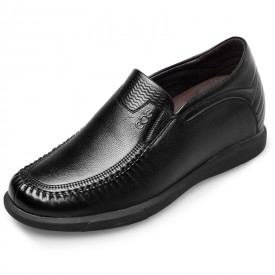 Comfort Elevator Driving Shoes Height 2.4inch / 6cm Soft Calf Leather Slip On Casual Shoes