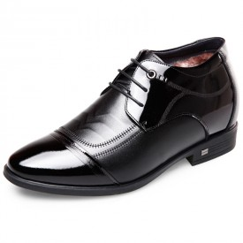 Stitched Cap Toe Elevator Tuxedo Shoes Height 2.6inch / 6.5cm Black Warm Oxford Dress Shoes