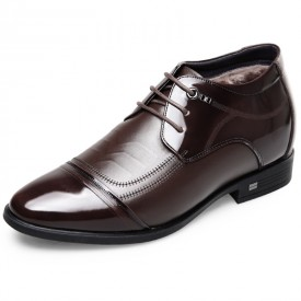 Stitched Cap Toe Elevator Tuxedo Shoes Taller 2.6inch / 6.5cm Brown Warm Oxford Dress Shoes
