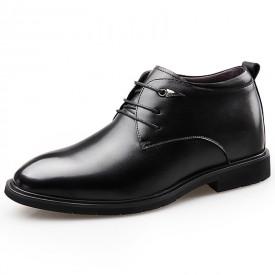 Black Taller Plain Toe Tuxedo Shoes Hidden Lift Groom Wedding Shoes Height 2.6inch / 6.5cm